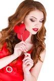 La bella donna intelligente sul San Valentino della st Immagini Stock Libere da Diritti