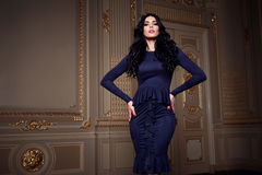 La bella donna sexy nella raccolta alla moda di autunno del vestito elegante di trucco castana lungo dei capelli della molla ha a Immagini Stock Libere da Diritti