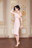 La bella donna sexy nella raccolta alla moda di autunno del vestito elegante di trucco castana lungo dei capelli della molla ha a Fotografie Stock
