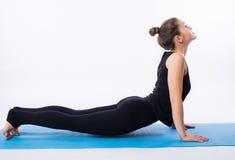 La bella donna sportiva di yogini di misura pratica lo svanasana di adhomukha di asana di yoga - posa orientata verso il basso de Fotografia Stock Libera da Diritti