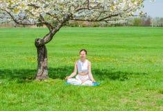 La bella donna sta praticando la seduta di yoga nella posa di Lotus vicino all'albero del fiore immagine stock