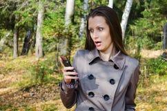 La bella donna sulla passeggiata in legno di autunno Immagine Stock
