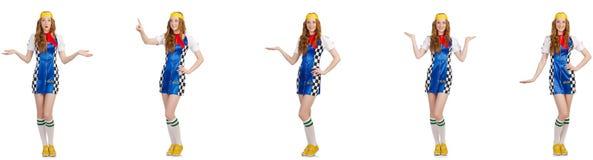 La bella donna in vestito a quadretti fotografia stock libera da diritti