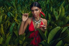 La bella giovane donna alla moda con compone ed accessori alla moda di boho che posano sul fondo tropicale naturale fotografie stock libere da diritti