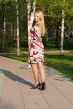 La bella giovane donna cammina sulla sosta. Immagine Stock