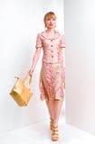 La bella giovane donna sopporta un sacchetto Fotografia Stock Libera da Diritti
