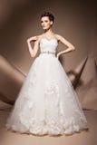 La bella giovane donna in un vestito da sposa immagini stock libere da diritti