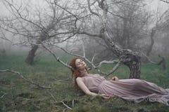 La bella giovane donna in un vestito lungo si trova nell'erba, nebbia Fotografie Stock Libere da Diritti