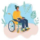 La bella giovane donna in una sedia a rotelle che fa alcuno lavora al suo computer portatile ed a godere di una tazza di caff? in royalty illustrazione gratis