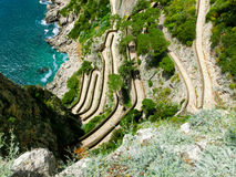 La bella isola di Capri, via Krupp in Italia Fotografia Stock Libera da Diritti