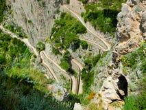 La bella isola di Capri, via Krupp in Italia Fotografia Stock