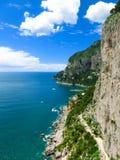 La bella isola di Capri, via Krupp in Italia Immagine Stock Libera da Diritti