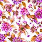 La bella lantana rosa fiorisce con le foglie arancio su fondo bianco Reticolo floreale senza giunte Pittura dell'acquerello Fotografia Stock