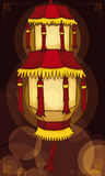 La bella lanterna cinese del ` s del palazzo alleggerisce la notte con effetto di Bokeh, illustrazione di vettore illustrazione vettoriale