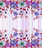 La bella passione fiorisce la passiflora con le foglie verdi su fondo a strisce Reticolo floreale senza giunte Pittura dell'acque royalty illustrazione gratis