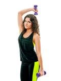 La bella ragazza è impegnata nelle teste di legno di sport Fotografia Stock Libera da Diritti