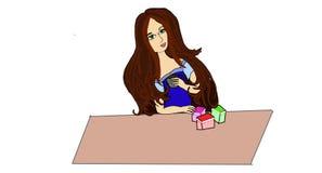 La bella ragazza beve il coffe illustrazione vettoriale