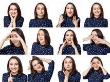 La bella ragazza castana in blusa blu mostra un mare delle emozioni positive nel collage immagini stock