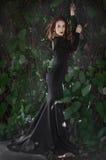 La bella ragazza castana snella in un vestito nero lungo con un aperto indietro, labbra rosse è una vite intrecciata parete fotografia stock libera da diritti
