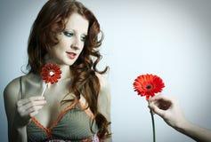 La bella ragazza con il fiore Fotografia Stock