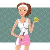 La bella ragazza gioca a tennis Illustrazione di Stock