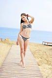 La bella ragazza harmonous sul seacoa Fotografia Stock
