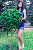 La bella ragazza integrale in parco vicino ai cespugli decorativi Immagini Stock