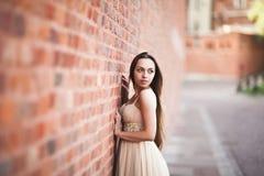 La bella ragazza sexy con forma perfetta lunga del vestito e dei capelli ha abbronzato il corpo che possing vicino alla parete Immagini Stock