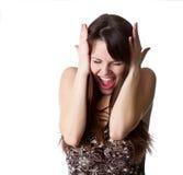 La bella ragazza sta gridando fotografia stock libera da diritti