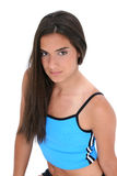 La bella ragazza teenager nell'allenamento copre il ritratto Immagini Stock