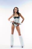 La bella ragazza in un vestito di dancing immagine stock libera da diritti
