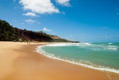 La bella spiaggia con le palme a Praia fa Amor Immagini Stock