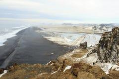 La bella spiaggia di Vic in Islanda Immagine Stock