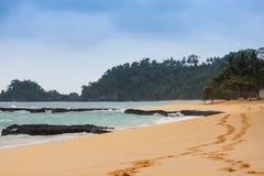 La bella spiaggia Jale in isola di Sao Tomé e Principe Fotografia Stock Libera da Diritti