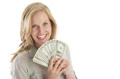 La bella tenuta della donna ha smazzato le banconote in dollari una Immagini Stock Libere da Diritti