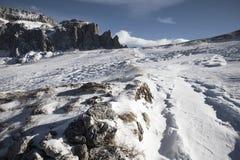 La bella vista della montagna nell'inverno Immagini Stock Libere da Diritti
