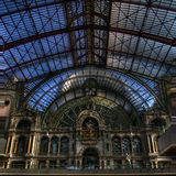 La belle architecture de la station de train d'Antwerpen photos libres de droits