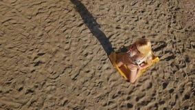 La belle blonde dans le bikini pose pour l'appareil-photo sur la plage banque de vidéos
