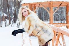La belle blonde dans le manteau de fourrure, les gants en cuir pose extérieur Photos libres de droits