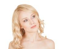 La belle blonde sur le fond d'isolement Photos stock