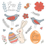 La belle collection de Pâques a rapporté les éléments graphiques Photo stock
