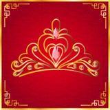 La belle couronne à l'arrière-plan rouge Photographie stock