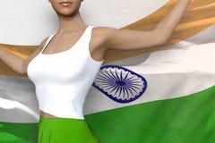 La belle dame dans la jupe lumineuse tient le drapeau de l'Inde dans des mains derrière son dos sur le fond blanc - illustration  illustration de vecteur