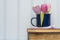 La belle de ressort de fleur toujours vie avec le fond en bois et ho Photos libres de droits