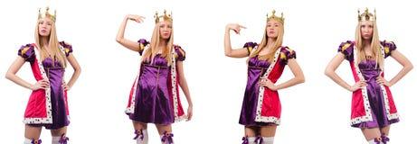 La belle femme avec la couronne d'isolement sur le blanc image libre de droits