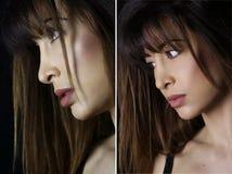 La belle femme avec le professionnel composent Deux verticales images stock