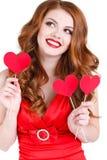 La belle femme intelligente la Saint-Valentin de St Image libre de droits