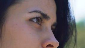 La belle femme observe extérieur, femme avec les cheveux foncés la lueur de yeux que brune regarde, lent banque de vidéos