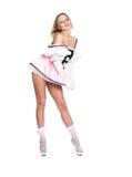 La belle fille dans une robe rose images stock