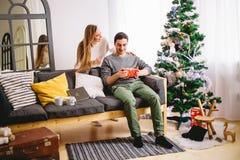 La belle fille donne à son ami un arbre de Noël proche actuel Image stock